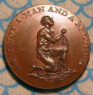 1790s Slave Chained African Halfpenny Conder Token DH1038b COLONIAL ERA COIN UNC