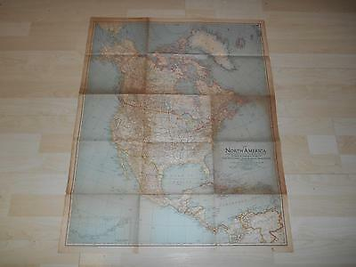 "Old Vtg 1942 NORTH AMERICA WALL MAP 26 1/2""x 32 1/2"" Hanging Decor"