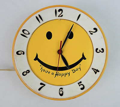 Vintage Lux Wall Clock Smiley Face yellow & white Have a Happy Day parts repair