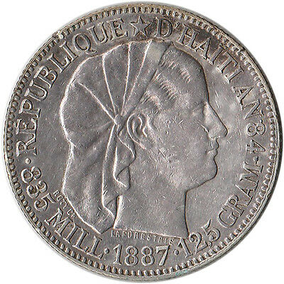 1887 Haiti 50 Centimes Silver Coin KM#47 Mintage 250,000