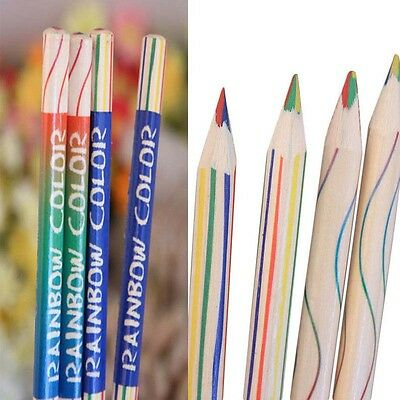10Pcs/Lot Multicolor Craft Drawing Painting Rainbow Color Pencils 4 In 1 Colored