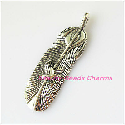 2 New Feather Leaf Tibetan Silver Tone Charms Pendants 16x56mm