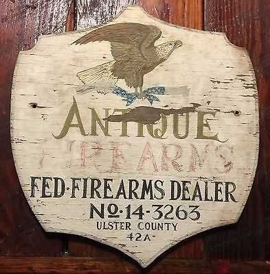 Early 20Th C Painted Wood New York With Eagle Sign Antique Firearms Vintage