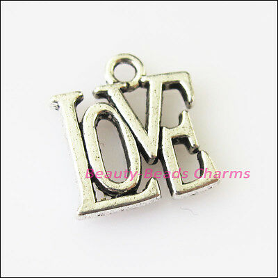 10 New Love Words Tibetan Silver Tone Charms Pendants 13x14.5mm