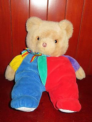 """13"""" Eden Bear Primary Colors Plush Stuffed Animal Red Blue Yellow Tan Baby Toy"""