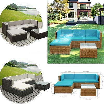 iKayaa 5PCS PE Rattan Patio Garden Furniture Sofa Set Outdoor Corner Couch Set