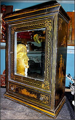 Antique French Chinoiserie Ebonised Mirror Wooden Cabinet Bathroom