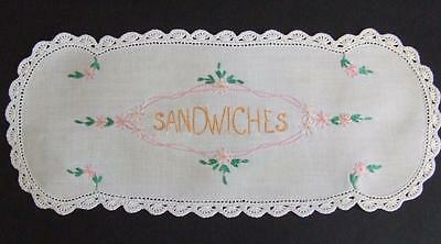 """Beautiful Hand Embroidered Vintage Doily Marked """"Sandwiches"""" Crocheted Edging"""