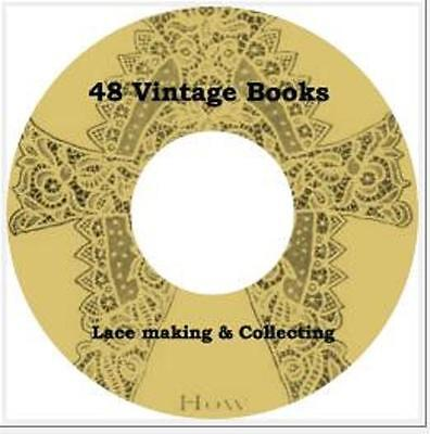 48 Books LACE Making, Create, Collecting, Patterns, Bobbin Art of Lace Books CD