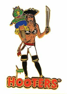 Hooters Restaurant Collectable Halloween Pirate Girl With Hootie Lapel Pin