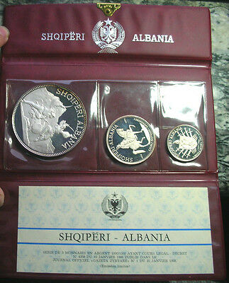 Albania 1970 Mint Pack 4.14oz Set of 3 Silver Coins,Proof