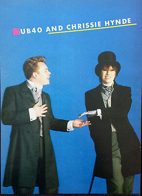 UB40 & CHRISSIE HYNDE / PAUL KING. ORIGINAL 2 SIDED POSTER FROM 80s No1 MAGAZINE