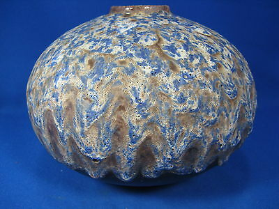 Stunning  blue glazed 70´s design Fat Lava Keramik Vase  unknown maker 15 cm
