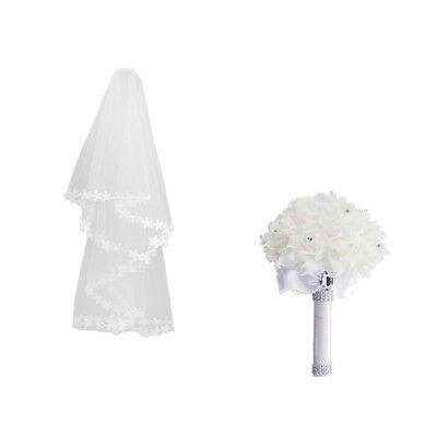 White Wedding Bridal Elbow Veil+Crystal Rose Flower Bouquet Decoration