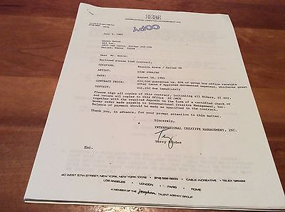 DIRE STRAITS: Vintage Concert Contract, Paperwork, Dallas, 1985!
