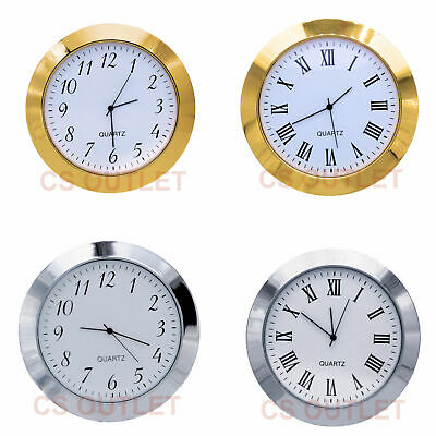 37mm Metal Bezel fit 34mm Hole, Clock / Watch Insert, White Dial Quartz Movement