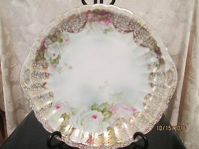 "Vintage WURTTEMBERG  Floral w/ gold trim  Cake Plate for display Cabinet 10"" dia"