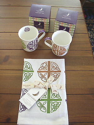 Celtic Love Cross China Coffee or Tea Mugs or Cups, and Tea Towel set, 3 pieces