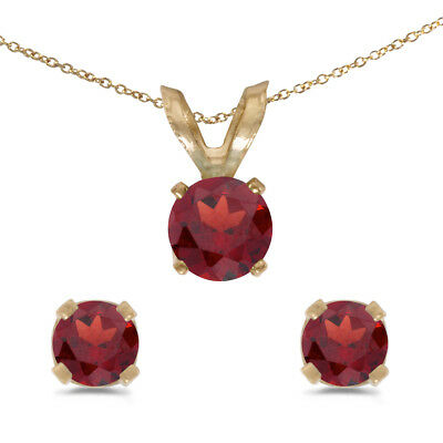 14k Yellow Gold Round Garnet Earring and Pendant Set