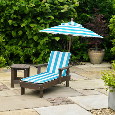 Kingfisher Kids Sun Lounger Set Garden Furniture With Umbrella And Side Table