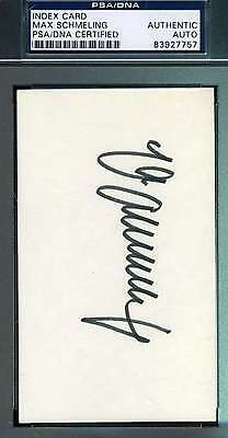 Max Schmeling Psa/dna Hand Signed 3X5 Index Card Authentic Autograph