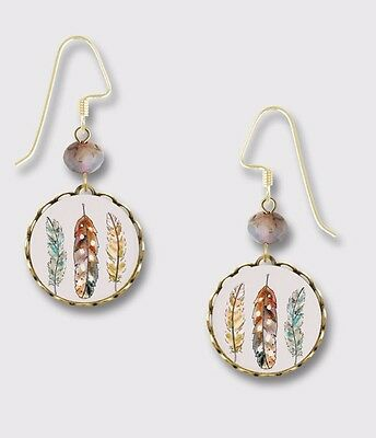 FEATHERS in Brass Round Lace EARRINGS by Lemon Tree Dangle USA + Gift Boxed