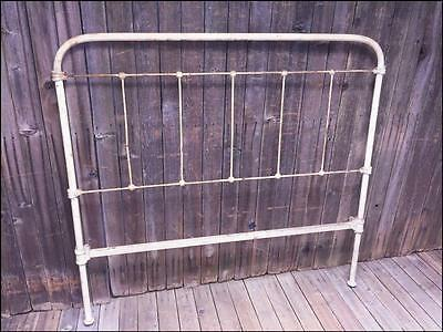 Antique CAST IRON BED HEADBOARD white FULL frame architectural garden vintage