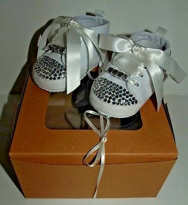 Infant Crib Converse Crystal Style Shoes Baby Shower Christening UK 0-3 Months!