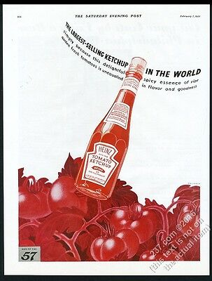 1931 Heinz Ketchup bottle nice all red tomato vines and fruit art vintage ad