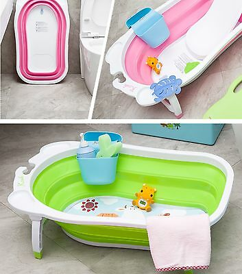 New Karibu Baby Folding Bath Infant to Toddler Anti Slip Bathtub Green
