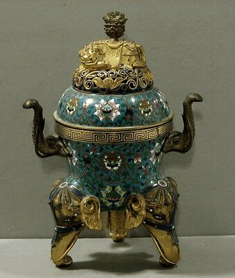 Chinese Cloisonne Incense Burner       ELEPHANT                 CHIEN-LUNG ?