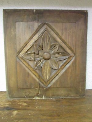 Antique Old Door Carved Panel --Mexican-Antique-Primitive-Vintage-19x20 in