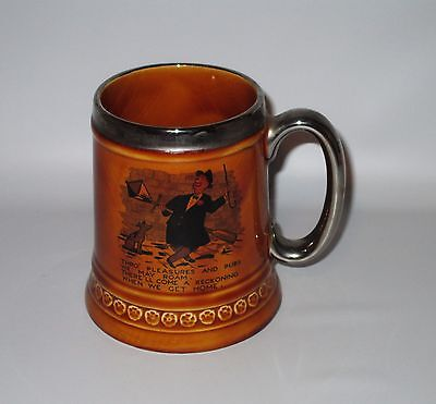 Lord Nelson Pottery Beer Mug Tankard Pleasures Pubs Reckoning Brown Silver