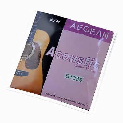 """1 Set 6 Strings For Acoustic Guitar Parts .010-.047"""" Brass Wound Extra Light"""