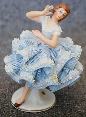 Sandizell West Germany Dresden Blue Porcelain Lace Adorned Lady Applied Flowers