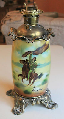 Antique Hand-Painted Fostoria Glass Oil Lamp Indian on Horseback Rare No Shade