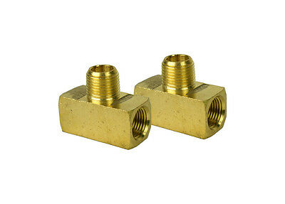 "2 Pack Heavy Duty Brass Pipe Branch Tee (2) 1/2"" Female X 1/2"" NPT Male Air Tank"