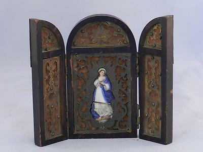 Antique Christian Icon~Small Triptych~Hand Painted Porcelain Insert VIRGIN MARY