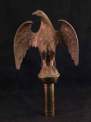 Vintage Brass & Bronze Federal Style American Bald Eagle Flag Pole Topper~Finial