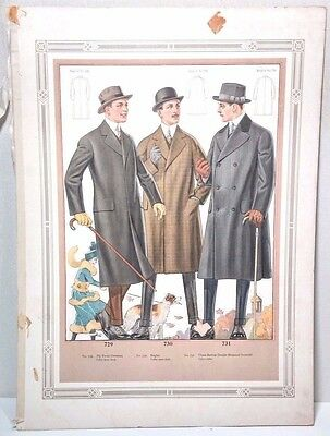 Antique Clothing Men's Fashion Tailor Catalog Art Illustration Page Poster Print