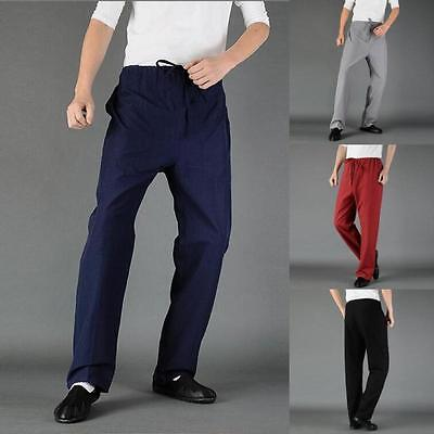 Casual Mens Cross Pants Trousers Chinese Japanese Style Kung Fu Tai Chi XXXL @C4