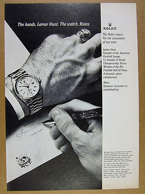 1979 Rolex Day-Date Chronometer watch Lamar Hunt hands photo vintage print Ad