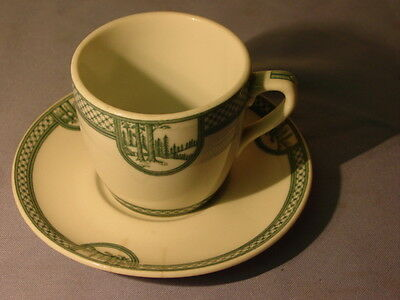 Vintage Rare Jackson China Green Soda Fountain Specials Cup & Saucer