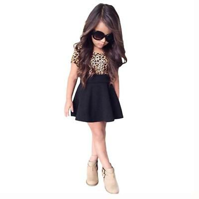 Baby Girls Kids Toddler Cloth Leopard Short Sleeve Princess Black Skirt Dress US