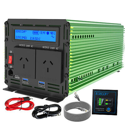 1500W 3000W Pure Sinve Wave 12V 240V Power Inverter Camping Boat Caravan Remote
