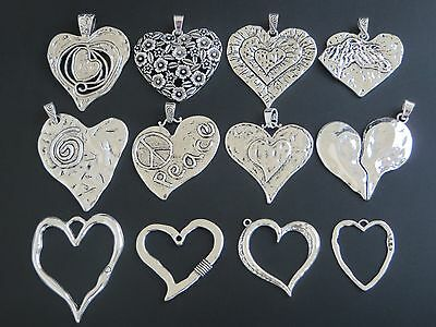 2/5 Large Spiral Swirl Filigree Hammered Flower Peace Heart Shape Charms Pendant