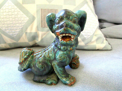 Vintage Art Pottery Fu Foo Dog Chinese Dragon Figurine Statue Weight 358grams