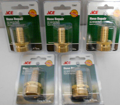"5 Lot  3/4"" Male GHT x 1/2"" Barb Brass Garden Hose Lawn Adapter Fittings"