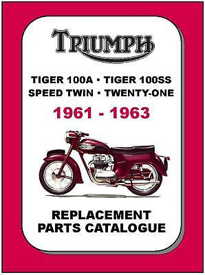 TRIUMPH PARTS MANUAL 5TA 3TA T100 1961 1962 and 1963 Replacement