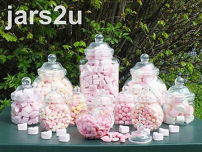 12 Plastic Jar Set-Wedding Buffet-2 Scoops & 100 Sweet Bags-email colour choice